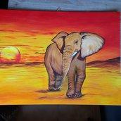 Elefante africano_Acrilico su tela_30x40 cm