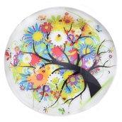 Cabochon vetro albero della vita fiorito 25mm diametro