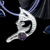 """Ciondolo da donna """"mezzaluna"""" in argento 925 con ametista fatto a mano C224"""