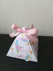 Scatolina scatoline triangolino unicorno festa nascita battesimo confetti segnaposto