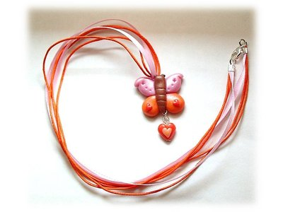 Collana farfalla pink-orange