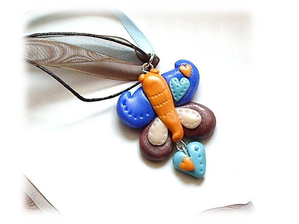 Collana farfalla blue-brown