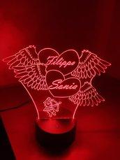 Lampada Led 3D Personalizzata San Valentino