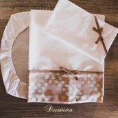 Coordinato lenzuola baby-pullman/carrozzina rosa antico e tortora