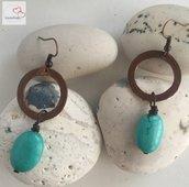 Orecchini in rame con pietre ovali di magnesite