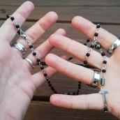 Collana black rosario style