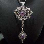 Ciondolo da donna gothic/gotico argento 925 brunito con ametiste fatto a mano C232