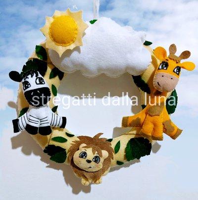 Fiocco nascita animali della savana ,leone, zebra  e giraffa