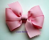 Lazo de pelo para niña liso color rosa perla