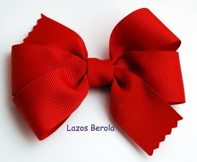 Lazo de pelo para niña liso color rojo