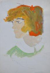 Disegno ragazza, pezzo unico, figura originale, moderno, ritratto acrilico