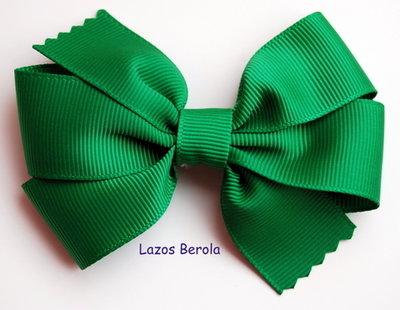 Lazo de pelo para niña liso color esmeralda