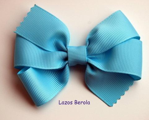 Lazo de pelo para niña liso color azul océano