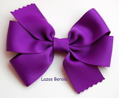 Lazo de pelo para niña liso color púrpura