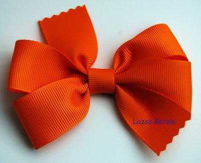 Lazo de pelo para niña liso color naranja