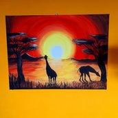 Giraffe al tramonto_Acrilico su tel_30x40 cm