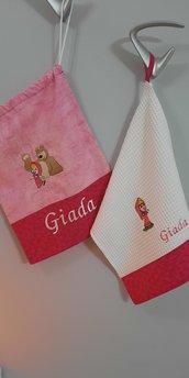 COMPLETO ASILO sacchetto e asciugamani