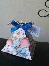 Scatoline Dumbo elefantino compleanno nascita battesimo bimbo segnaposto confetti bomboniere