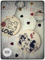 Portachiavi Topolino e Minnie innamorati
