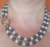 Girocollo 2 fili pietra ematite e perle sintetiche