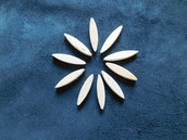 set 10 ovali piccoli in legno di betulla per petali e foglie fiori stilizzati