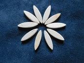 Set 10 ovali medi in legno di betulla per petali e foglie fiori stilizzati