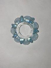 Anello o fiocco, ricambio per lampadari, in vetro soffiato di Murano, azzurro.