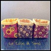 Cestini porta oggetti in stampa girasoli e interno giallo in cotone americano, leggermente imbottiti in cotone.