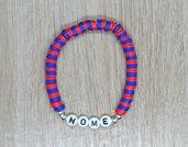 bracciale heishi, bracciale elastico nome, bracciale personalizzato, bracciale perline squadra calcio, bracciale rosso blu