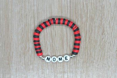 bracciale heishi, bracciale elastico nome, bracciale personalizzato, bracciale perline squadra calcio, bracciale rosso nero