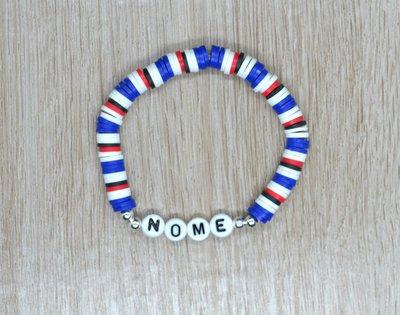 bracciale heishi, bracciale elastico nome, bracciale personalizzato, bracciale perline squadra calcio, bracciale blucerchiati