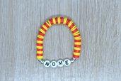 bracciale heishi, bracciale elastico nome, bracciale perline squadra calcio, bracciale personalizzato, bracciale giallo rosso