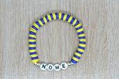 bracciale heishi, bracciale elastico nome, bracciale personalizzato, bracciale perline squadra calcio, bracciale blu giallo