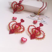 """Collana  e orecchini """"Cupido"""" macramè art"""