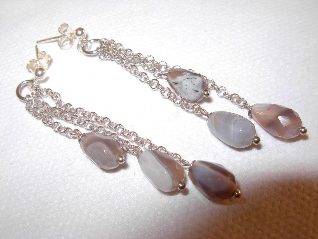orecchini in argento e gocce quarzo rutilato