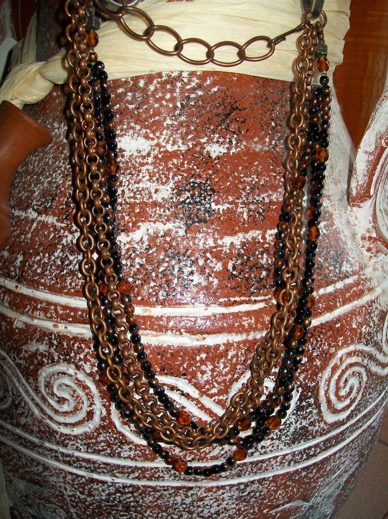collana con catena perle e cristalli