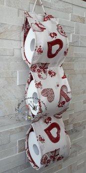 Porta rotolo carta igienica stile shabby con i cuori rossi