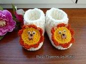 Scarpine ad uncinetto per neonato, in lana, forma leone, fatto a mano
