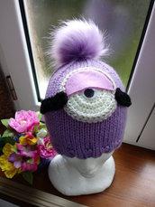 Cappello ai ferri, in lana, a forma di MInions viola