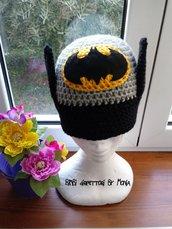 Cappello ad uncinetto, in lana, a forma di Batman
