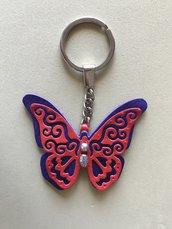 Farfalla portachiavi in pelle con perle in argento tibetano e metallo
