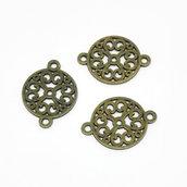 6 connettori tondi bronzo antico