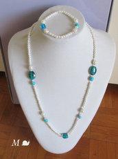 Collana e bracciale con perle e murrine