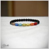 Bracciale arcobaleno perle vetro ovaline colorate tonde nere distanziatori acciaio