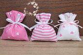 Sacchetto portaconfetti rosa nascita battesimo compleanno