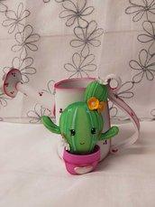 Innaffiatioio portaoggetti con cactus stile kawaii