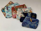 Portamonete portaoggetti da borsa in cotone con stampe giapponesi