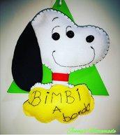 Targhetta auto bimbo a bordo Snoopy