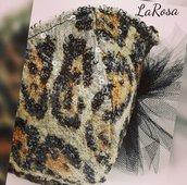 Mascherina moda in paillettes leopardata