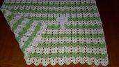 Copertina neonato per culla carrozzina lana merinos colore bianco verde
